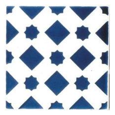 "Mediterranean Blue Star Ceramic Tile, 4.25""x4.25"""
