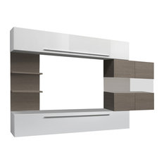 Line 4-Piece White and Oak Wall Entertainment Unit