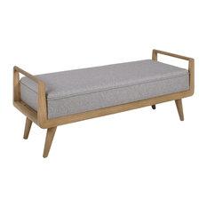 Khloe Natural Sungkai Upholstered Bench