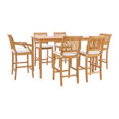 """7 Piece Teak Wood Castle 71"""" Rectangular Bistro Bar Set, 4 Side/2 Arm Barstools"""