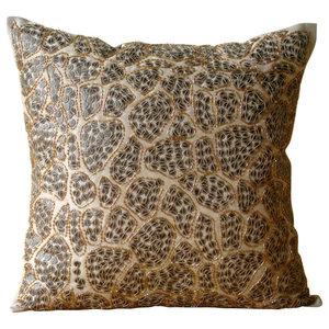 Beige Art Silk 50x50 Leopard Sequins Cushions Cover, Leopard Spots