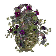 Artificial Flowers, Morning Glory With Decorative Vase Artificial Plant