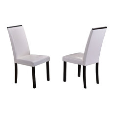 Oxford Parsons Dining Chairs, White Faux Leather & Cappuccino Wood Legs