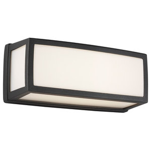 Washington Outdoor LED Rectangle Wall Light, Dark Grey, Small