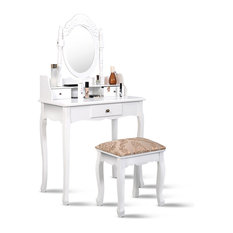 Costway Vanity Table Jewelry Makeup Desk Dresser w/ Stool 3 Drawer bathroom