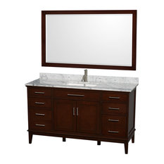 "Hatton 60"" Vanity, 56"" Mirror, Dark Chestnut, Square, White Carrera Marble"