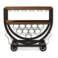 Triesta Industrial Metal And Wood Wheeled Wine Rack Cart, Antiqued Vintage