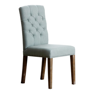 Abbyson Living Colette Linen Tufted Dining Chair, Blue