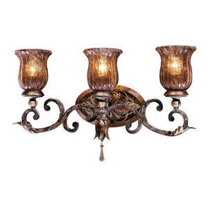 Livex Lighting 8462-57 Bath Vanity with Vintage Carved Scavo Glass Shades Venetian Patina