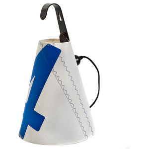 Recycled Sailcloth Inspection Lamp, White and Blue