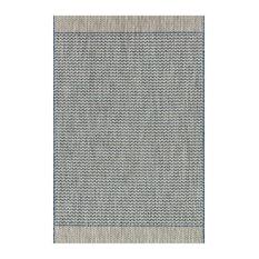 Yucatec Bazaar Grey Blue Zig Zag Outdoor Rug - 9'2x12'1
