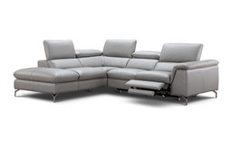 Viola Italian Leather Sectional Sofa With Power Recliner, Left Hand Facing