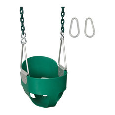 High-Back Full Bucket Swing Seat With Coated Chain, 5.5', Green