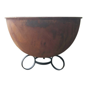 Karoo Rustic Oxide Patina Fire Pit Transitional Fire