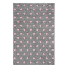 Polka Dot Children's Rug, Grey and Pink, 100x150 cm