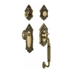 Nostalgic Warehouse   Victorian Plate F Grip Entry Set Victorian Knob,  Antique Brass   Door