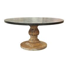 Zinc Top Table, Old Wood