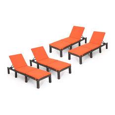 GDF Studio Joyce Outdoor Wicker Chaise Lounge With Cushion, Orange, Set of 4