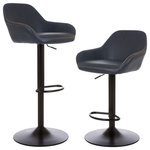 Glitzhome - Vintage Navy Blue Leatherette Gaslift Adjustable Swivel Bar Stool, Set of 2 - Bring the sophisticated look of leather seating to your dining space or cooking area.  The handmade faux leather is soft to the touch while its curved design provides comfort. Supported with pneumatic adjustable legs for an ergonamics and high quality design.
