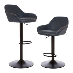 Vintage Navy Blue Leatherette Gaslift Adjustable Swivel Bar Stool, Set of 2
