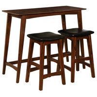 3-Piece Acacia Wood and Acacia Veneer Dining Set, Walnut
