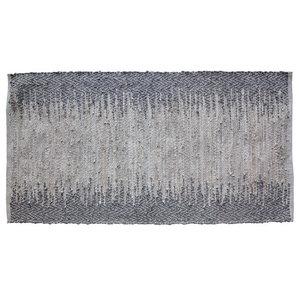 Ellen Steel Grey Leather Rug, 60x90 cm