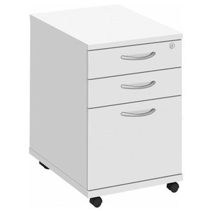 Modern Stylish Chest of Drawers, Painted Solid Wood, Top Lockable Drawers, White