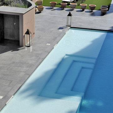 Pool deck ideas - concrete wood