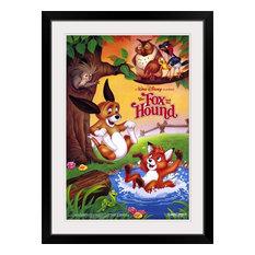 """The Fox and the Hound (1988)"" Black Framed Art Print, 28""x38""x1"""