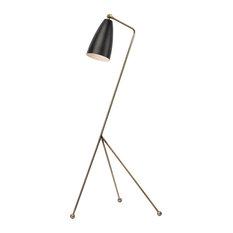 Lucille Floor Light, Antique Brass/Matte Black