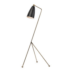 Lucille Floor Light, Antique Brass/Matte Black
