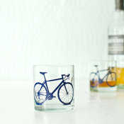 Bicycle Screen-Printed Old-Fashioned Glasses, Blue by Vital