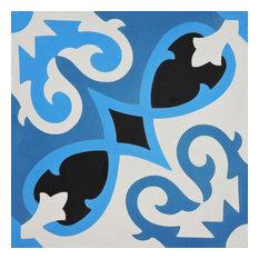 "8""x8"" Agadir Handmade Cement Tile, Blue/Black, Set of 12"