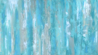 Abstract canvas prints featuring teal blue