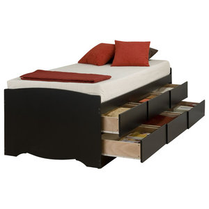 Twin Captains Bed 3 Drawers Transitional Platform Beds
