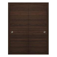 Sliding Closet Bypass Doors 48 x 80 & Hardware   Planum 0010 Chocolate Ash