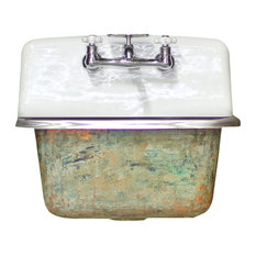 New High Back Utility Sink Antiqued Cast Iron Lagniappe Farm Sink Monet Green