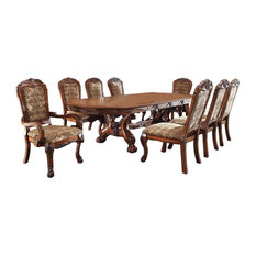 Medieve Traditional Style Cherry Finish Oval 9 Piece Dining Table Set
