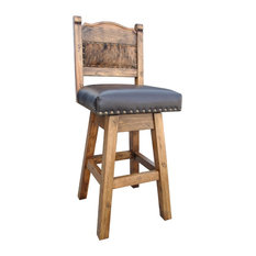 """Hacienda Swivel Stool With Cowhide, 24"""" Counter Height"""