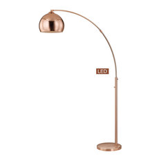 """Alrigo 80"""" LED Arched Floor Lamp With Dimmer, Rose Copper"""