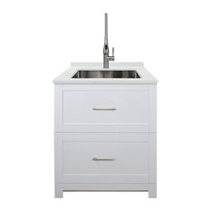 """Transolid 29""""x25.5"""" Quartz Laundry Sink and Cabinet with Faucet, Matte White"""