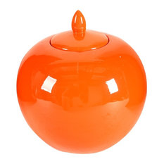 Round Ceramic Lidded Bellied Jar, Orange