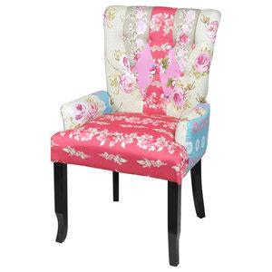 Curved Armless Chair In Santa Maria Desert Flower Midcentury