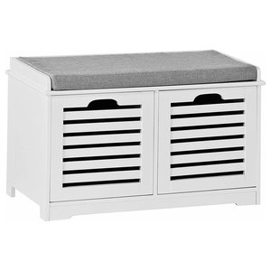 Contemporary Storage Bench, White MDF With 2-Drawer and Removable Cushion