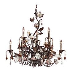 Elk Cristallo Fiore 9 Light Chandelier, Deep Rust With Crystal Florets