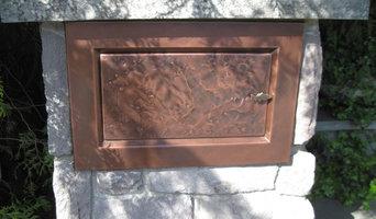 custom mailbox inset in stone post