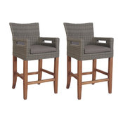 Counter Height Light Gray Wicker and Eucalyptus Arm Chair With Handles, 2 pack