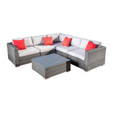 GDFStudio - 6-Piece Francisco Outdoor Wicker Seating Sectional With Cushions, Gray Set - Outdoor Lounge Sets