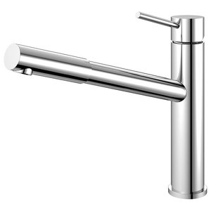 Extendable Kitchen Mixer Tap, Pointed, High Gloss Stainless Steel