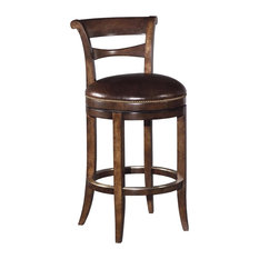 New Bar Height Stool  Brown Leather Swivel